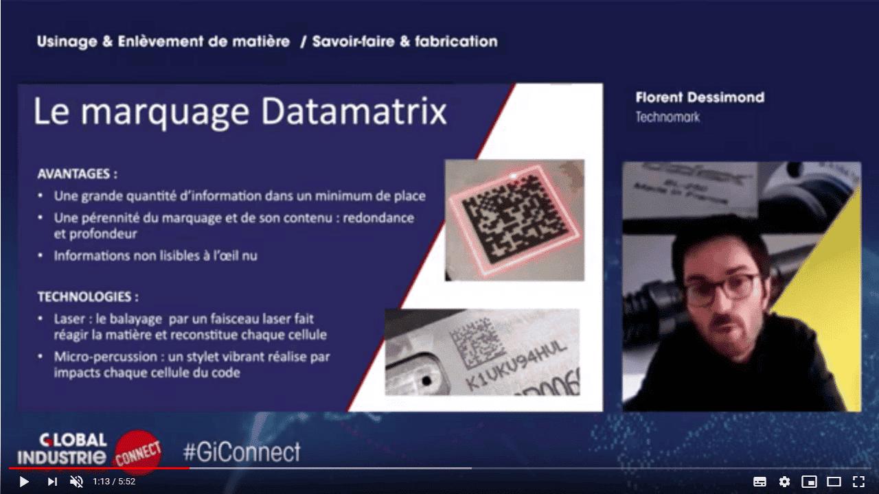 GI Connect 2020 - Webinar Technomark - Usinage Enlèvement de matière - Le marquage Datamatrix